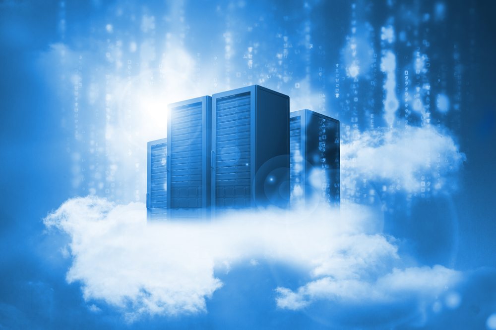 Data servers resting on clouds in blue in a cloudy sky-1